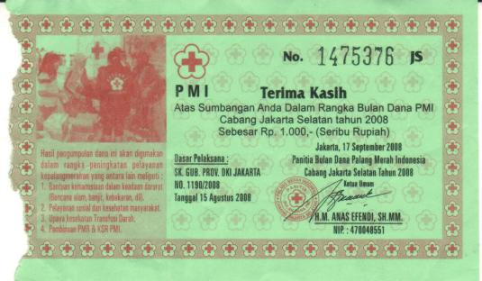 Robekan karcis sumbangan Bulan Dana PMI 2008
